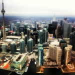 View Toronto from airplane